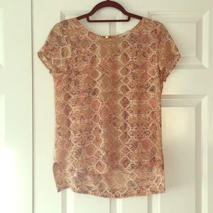 Anthropologie silk blouse with back zipper